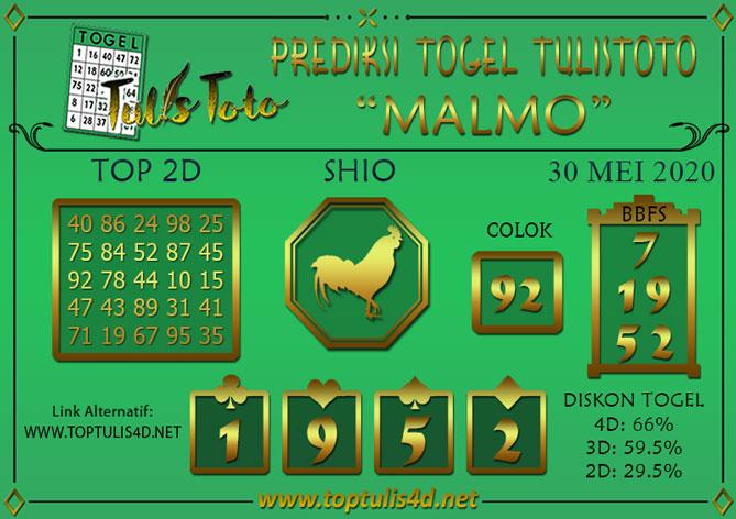 Prediksi Togel MALMO TULISTOTO 30 MEI 2020