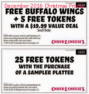 Chuck E Cheese coupons for december 2016