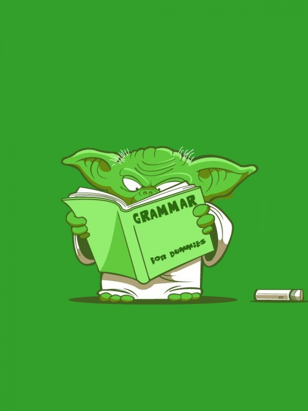 Wallpaper Android Yoda Baca Buku Warna Hijau