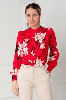 Camasa rosie cu imprimeuri florale