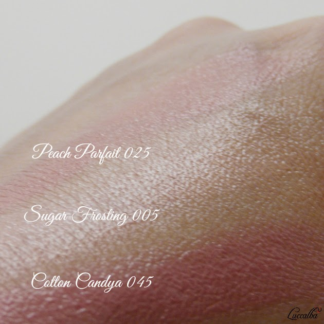Swatches Cotton candy, Peach Parfait y Sugar Frosting ColorBrust