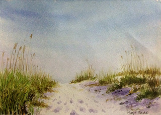 Water colour painting of a Florida beach by Manju Panchal
