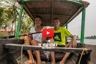 Backwaters Tour mit Kanu in Kerala Indien Safari Indien Weltreise Die Wegsucher Arkadi und Katja WELTREISE.TV