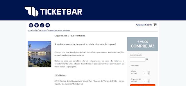 Ticketbar para ingressos para um passeio por Lugano Lake