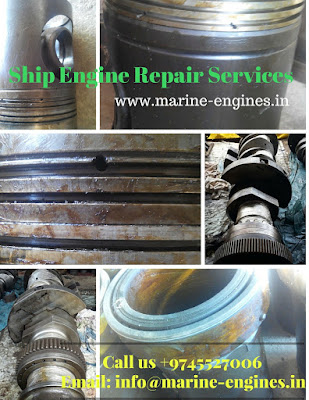ship repair, marine engine overhauling, ship main engine repair, trouble shooting, manual, ship engine spare parts