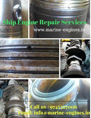 ship repair, marine engine overhauling, ship main engine repair, trouble shooting, manual, ship engine spare parts