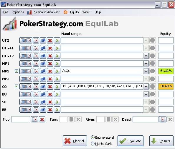 Poker Software and Poker Tools - PokerStrategy Equilab
