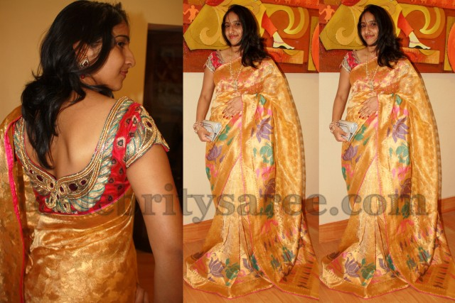 bf0bfed704215 Golden Tissue Sari With Bridal Blouse - Saree Blouse Patterns