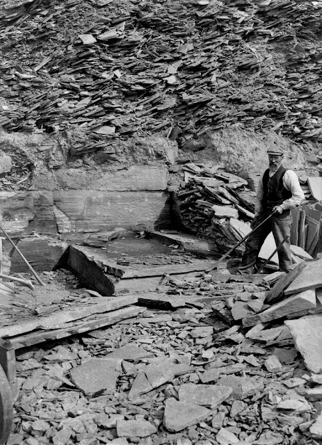 Stonegunn Quarry, 4.8 km. south-east of Thurso. Caithness. Method of levering the flagstones. The horizontal bed of rock is first split using chisels hammered in with a sledgehammer. It is then levered off the bedding plane with a crowbar. A quarryman in dress of the time (c.1910) is clearly seen. The rock is Devonian (Old Red Sandstone) Caithness Flagstones. After splitting each flag is taken away by means of crane and is subjected to preliminary squaring.
