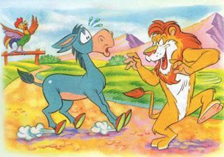 fabula el asno el gallo y el leon
