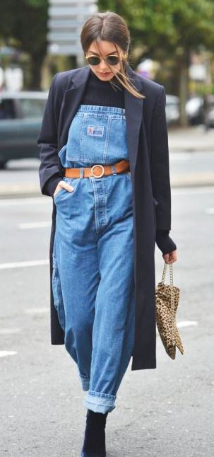street style obsession / coat + denim jumpsuit + boots + top + bag