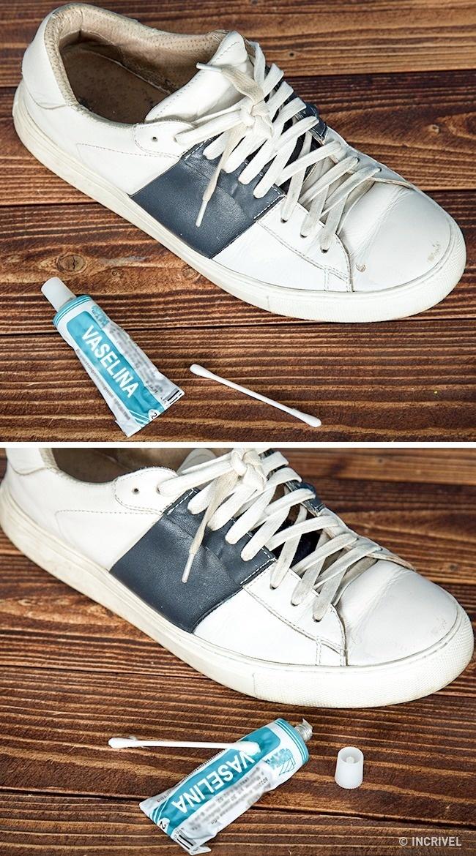 É possível disfarçar arranhões nos calçados usando vaselina (Reprodução/Incrível)