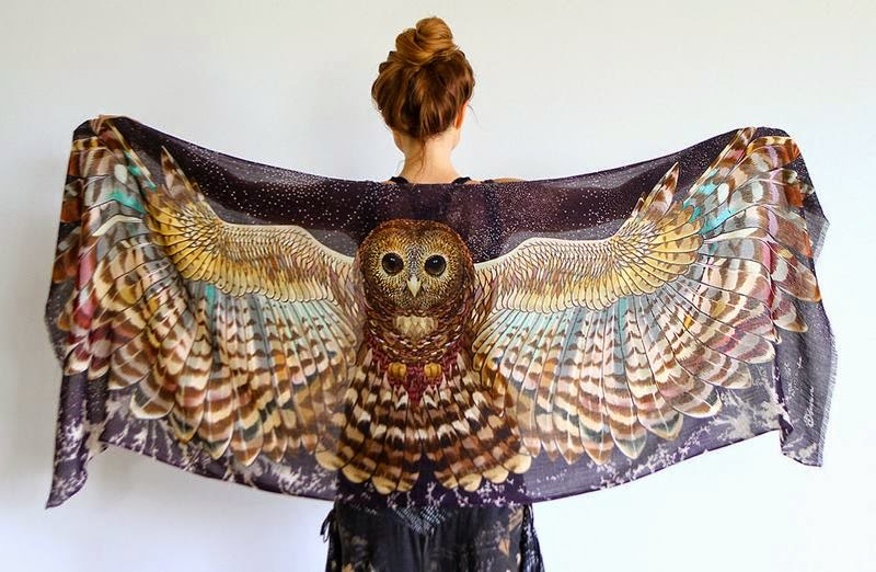 Scarves With Beautiful Birds Wings by Roza Khamitova