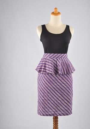 Model rok batik pendek peplum