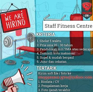 Lowongan Kerja Staff Fitness Centre di Singgasana Gym