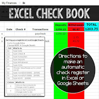 creating a digital checkbook in Excel or Google Sheets