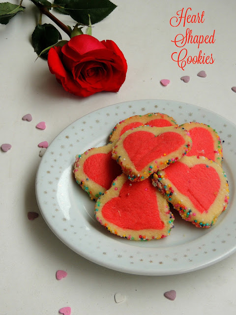 Heart shaped eggless butter cookies, Heart shaped cookies