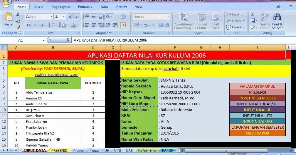 Aplikasi Daftar Nilai Guru Mapel Kurikulum 2006 Sekolah Daring