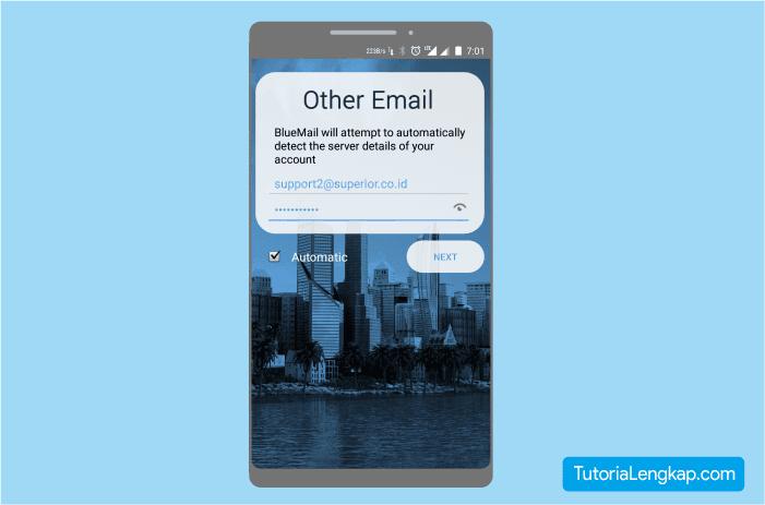 cara login email custom pada hape android