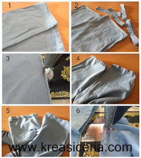 Tutorial permak celana jeans dengan teknik potong sambung