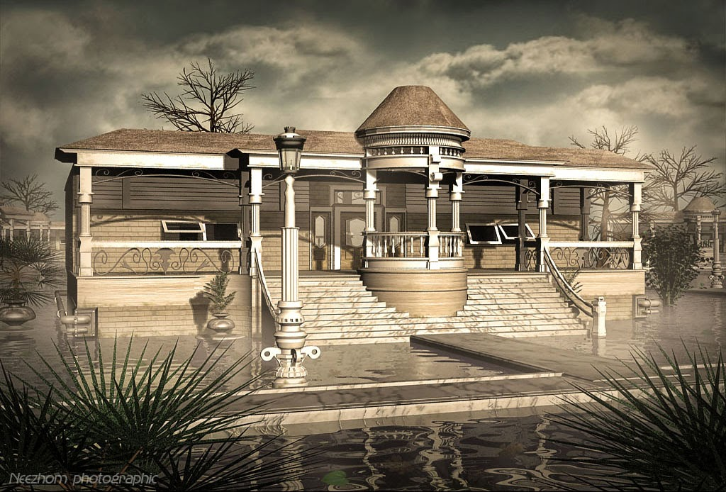 house and smoke on a water 3d graphic picture