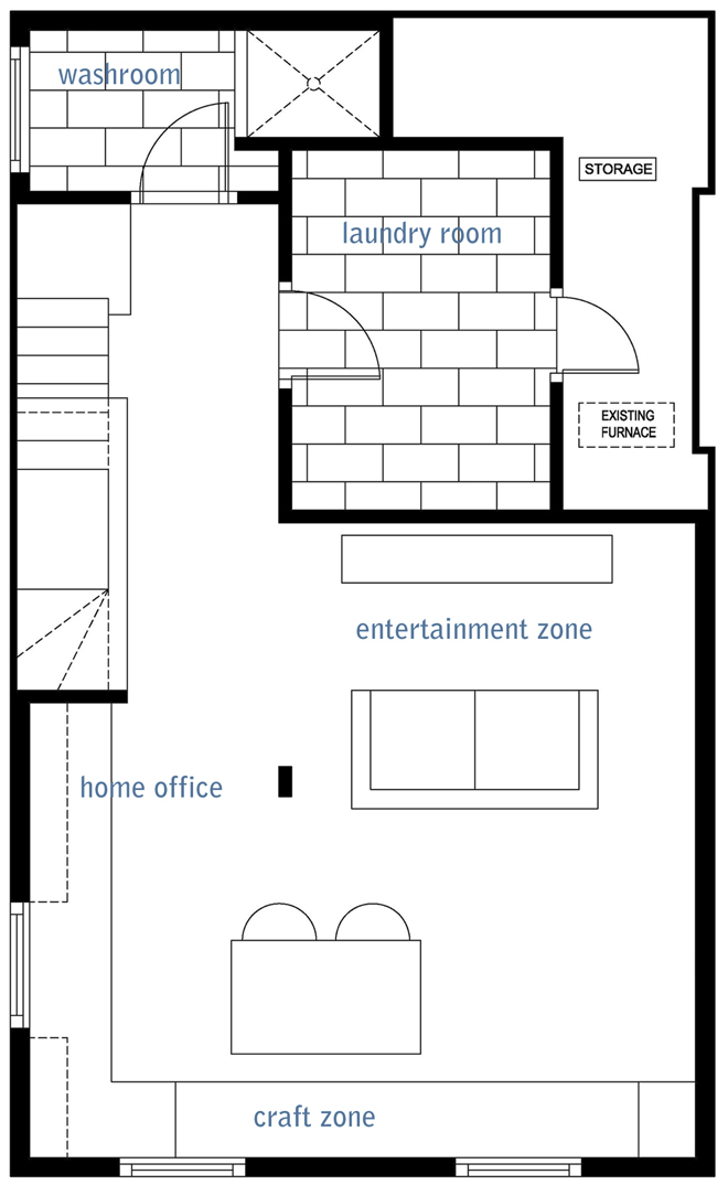 basement layout, basement space plan, basement floor plan