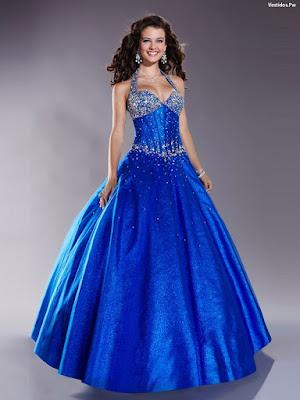Vestidos azul rey modernos