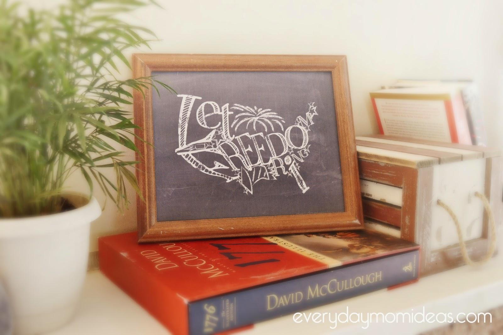 4th Of July Chalkboard Word Art Free Printable