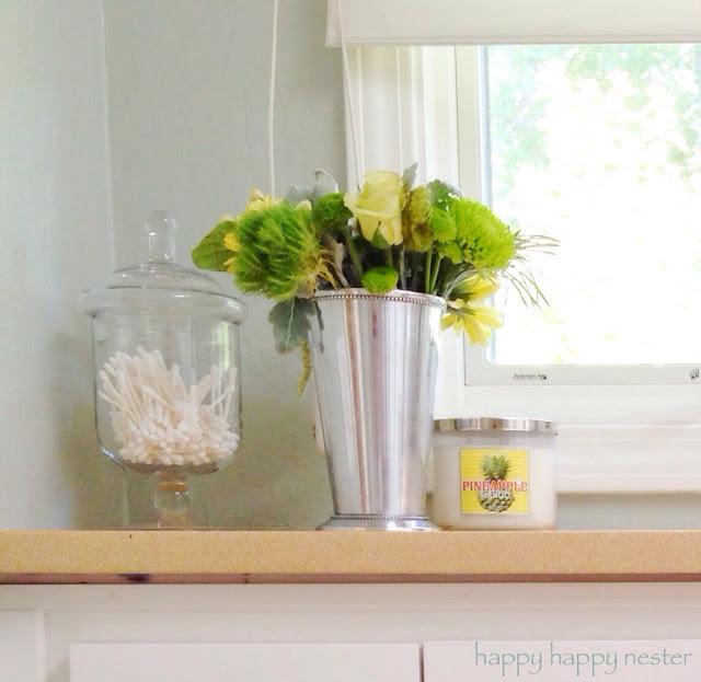 open concept home tour, master bathroom, Pottery Barn style, white interior, apothecary jars