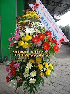 rangkaian karngan bunga standing segar