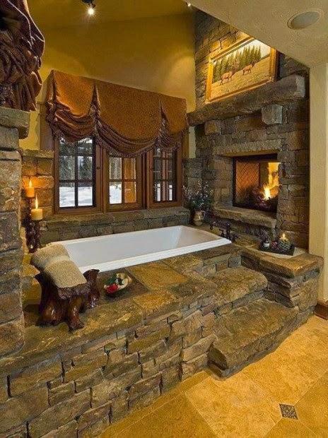 baño rústico de piedra