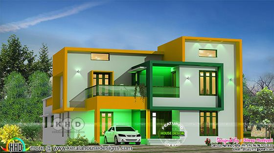 4 bedroom 2207 square feet modern flat roof home