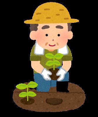 苗を植える農家の男性のイラスト