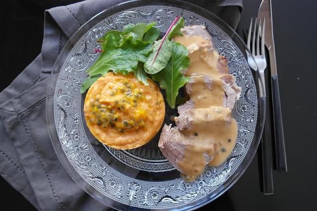 Filet mignon purée patate douce passion