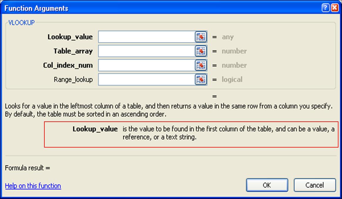Belajar Excel - Insert Function Argument Window