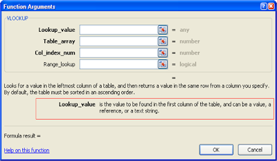 Belajar Excel - Insert Function Argument Window