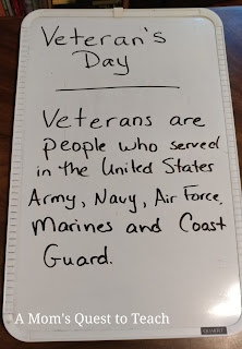 Who Veterans are written on a whiteboard.