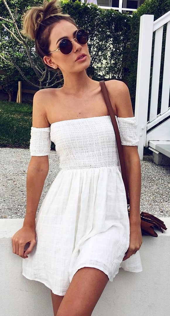boho babe wearing off-the-shoulder dress