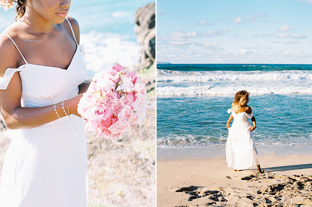 Maui bride surounded by the ocean blue