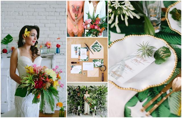 trópusi egzotikus dekoráció esküvő