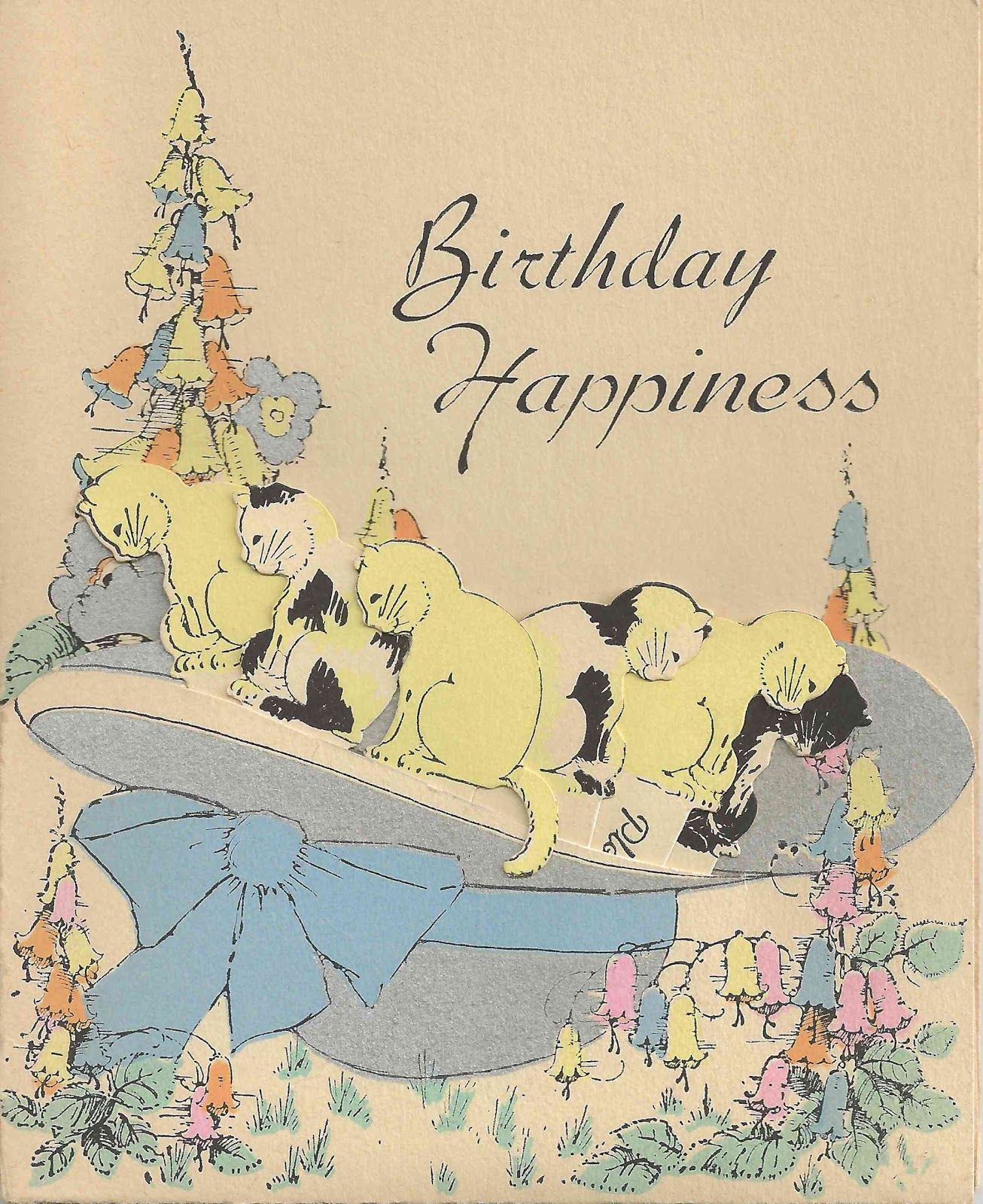 Its A Vintage Kitty Cat Birthday Card