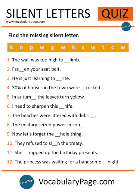 Silent Letter worksheet