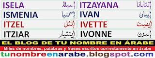 imagenes de nombres en arabe: ITZAYANA IVAN IVETTE IVONNE