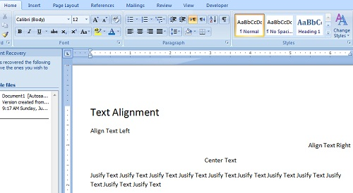 Procedure for text Alignment in Microsoft Word