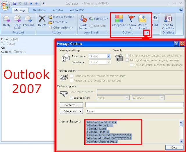 Encabezado de Internet Microsoft Outlook 2007