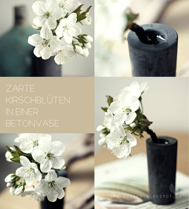 Ynas design Blog Kirschblüten in Betonvase