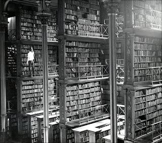Мужчина лазает по стремянкам возле гигантских книжных полок. Ужас!
