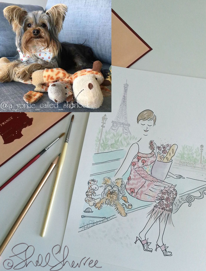Pet and custom fashion illustration in Paris: Sherlock, Mr Giraffe and Mum with the Eiffel Tower © Shell Sherree