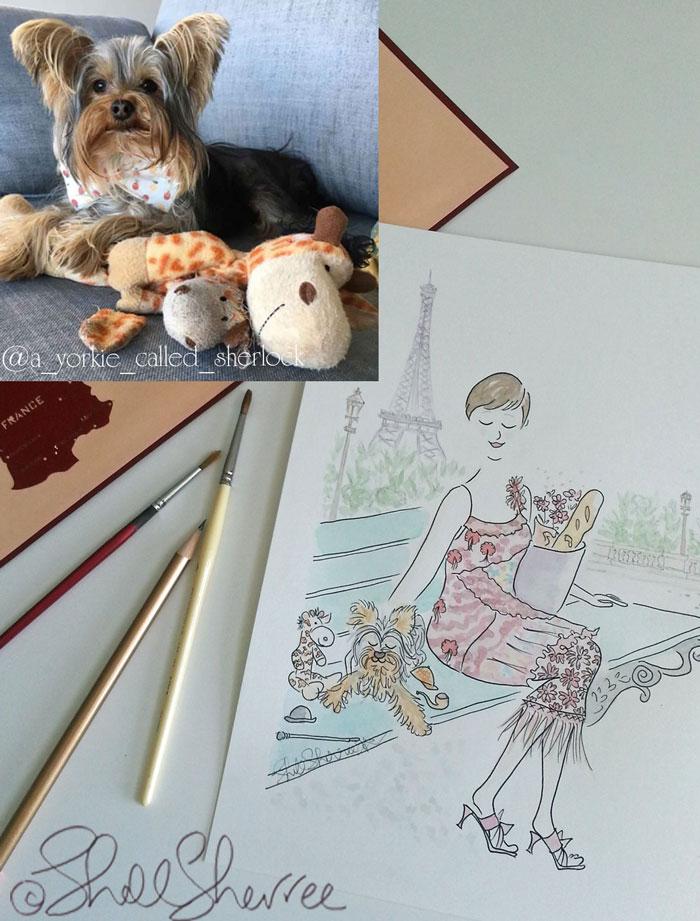 Pet and custom fashion illustration in Paris: Sherlock, Mr Giraffe and Mum with the Eiffel Tower © Shell Sherree