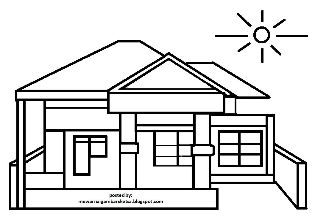 Mewarnai Gambar Mewarnai Gambar Sketsa Pemandangan Rumah 4